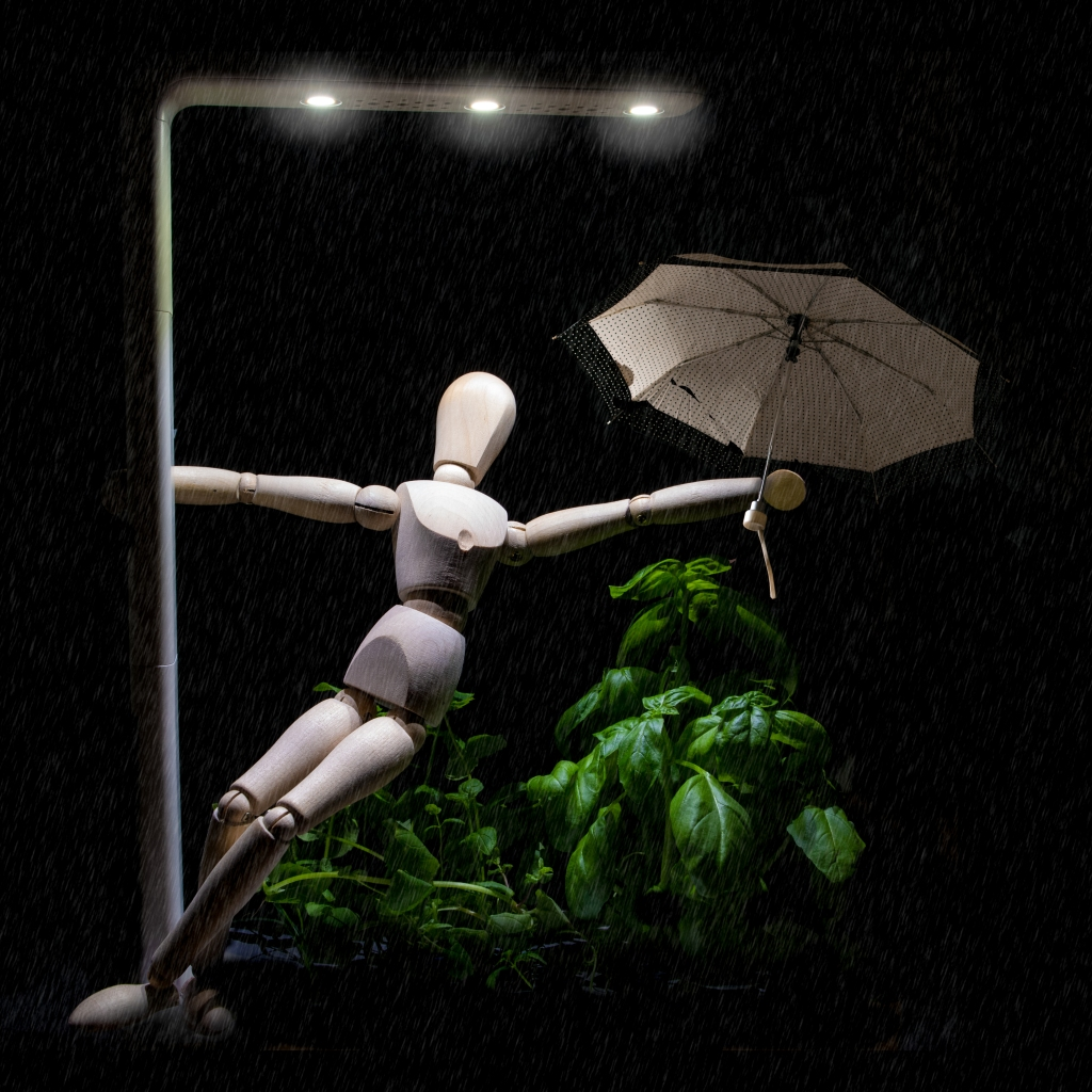 Wooden manikin recreating a scene from Singing in the Rain, dancing with a street lamp and an umbrella.
